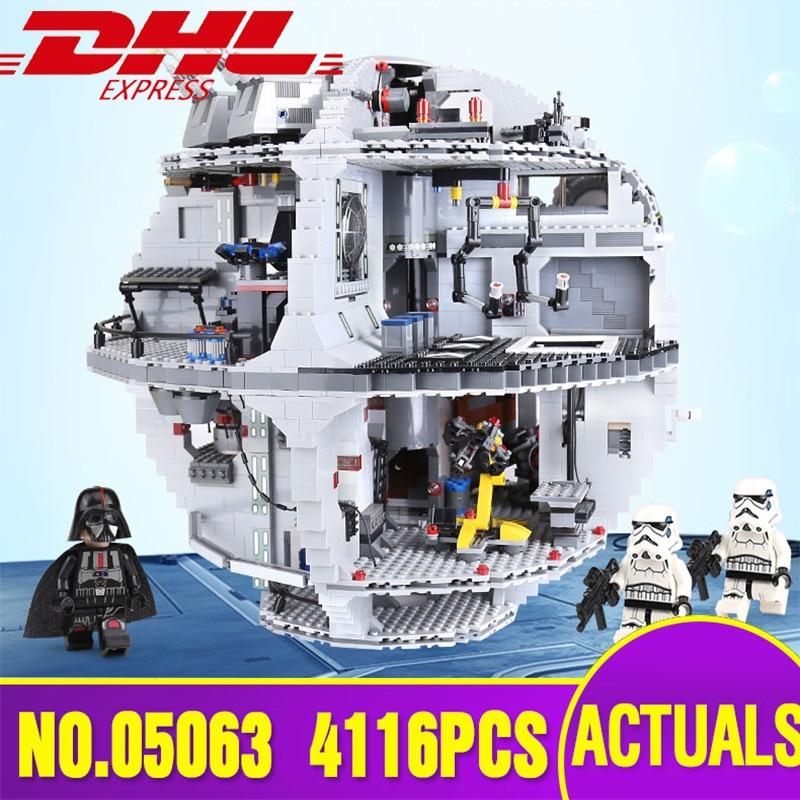 Lepin 05063 4016 pcs del DHL Star Piano di Serie Wars Death Star di Costruzione Giocattoli dei Mattoni del Blocchetto Kit Compatibile Legoing 75159 Di Natale regalo