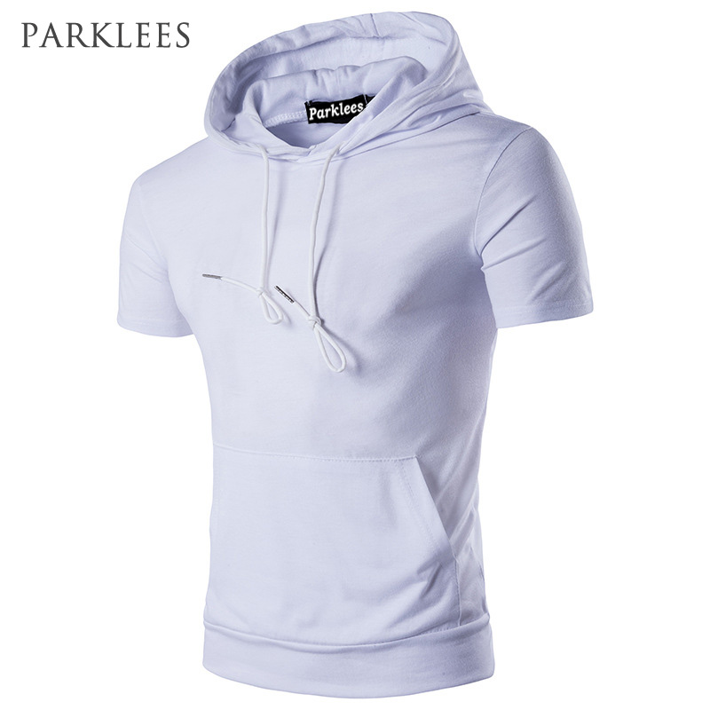 Hooded   T     Shirt   Men 2017 Brand New Summer Short Sleeve Tee   Shirt   Homme Casual Slim Fit Hoody Mens   T  -  shirt   Candy Color Top Tees