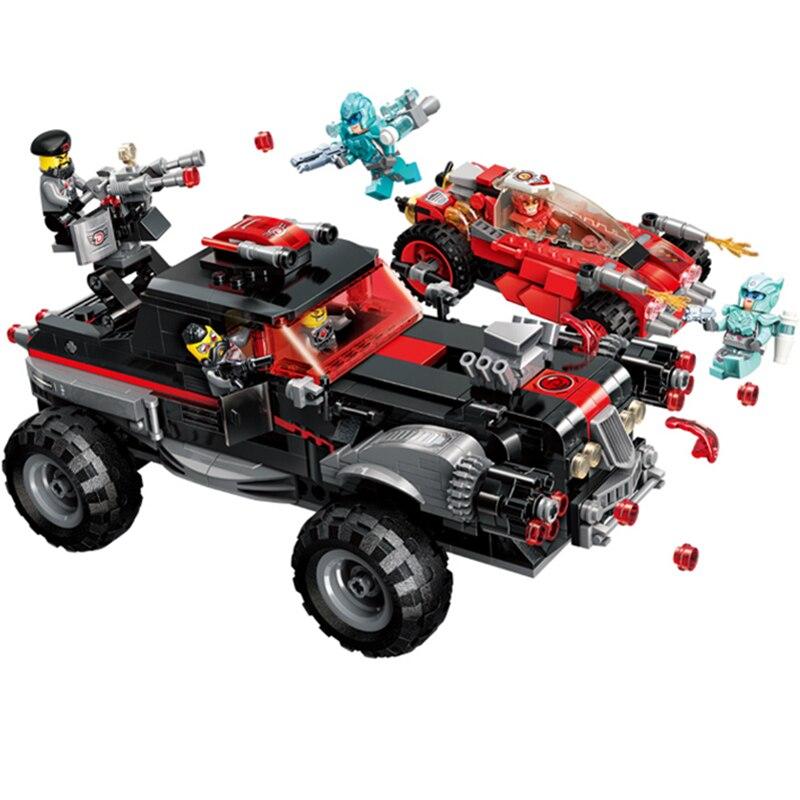 Super héros série tout-terrain véhicule voiture blocs de construction briques ensembles modèle enfants jouets Marvel Compatible Legoings idées Ninja film