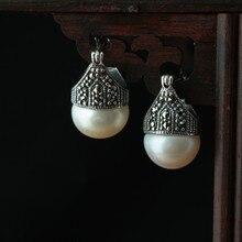 [juanxiu. Silver] 925 sterling silver jewelry ornament zircon pearl retro female earrings earrings