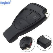 OkeyTech funda de llave de control remoto para coche, inteligente, para Mercedes Benz MB C E ML S SL SLK CLK AMG, suave, 3 botones con cubierta de batería y cuchilla