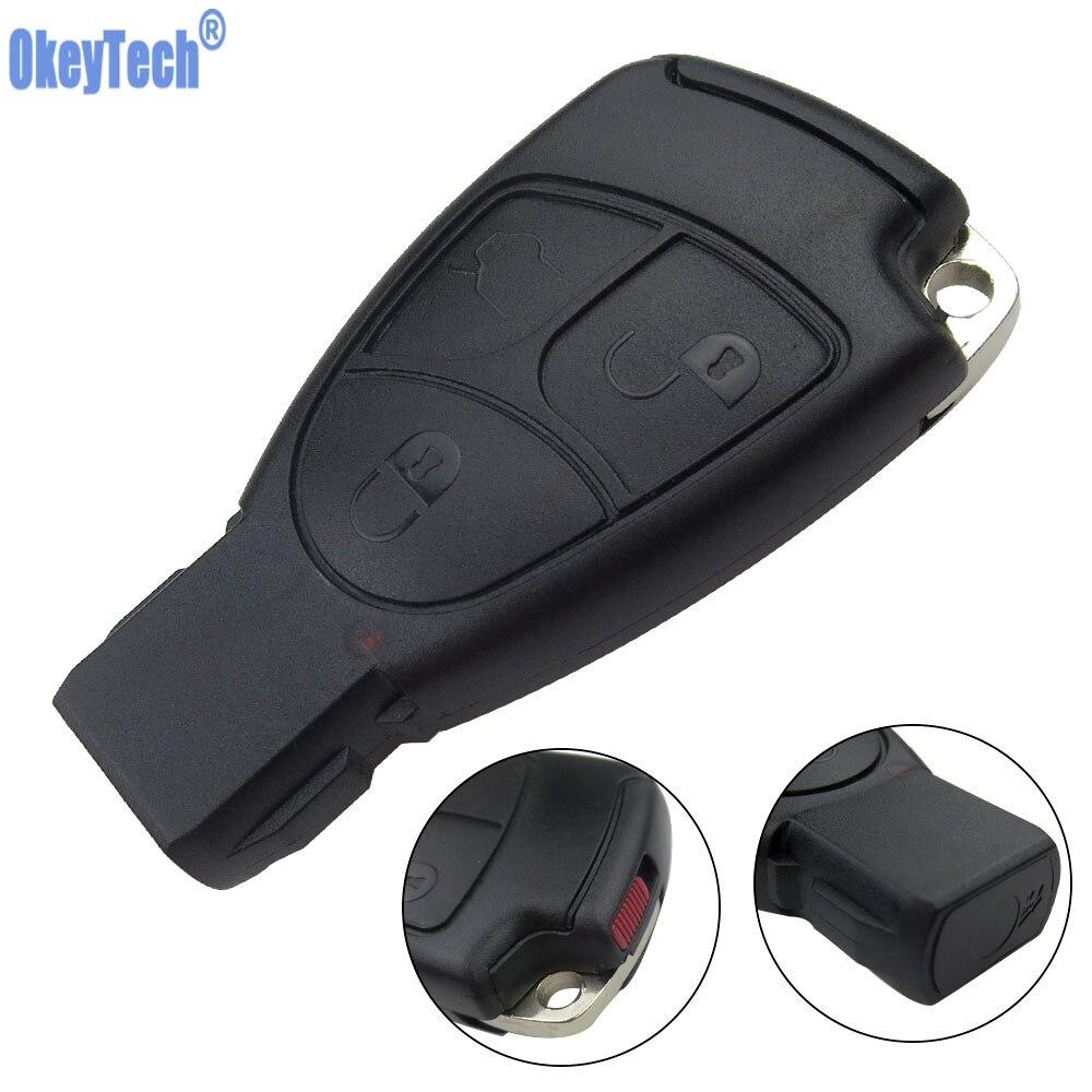 Porte-clés étui à distance OkeyTech Smart Car pour Mercedes Benz MB C E ML S SL SLK CLK AMG Soft 3 boutons avec couvercle de batterie et lame