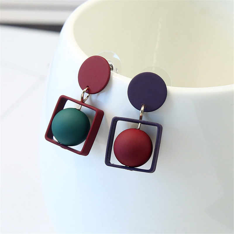 2019 New Fashion Hollow Square Pentagram Round Earrings Brincos Oorbellen Simple Mixed colors Ball Drop Earrings Women Jewelry