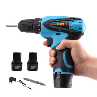 12V Electric Screwdriver Cordless Drill Rechargeable Lithium Battery X2 Two speed LED Light Screw Driver Power Tools Woodworking
