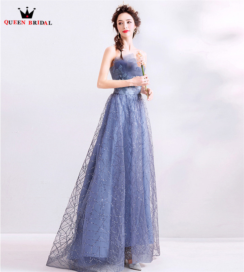 Blue Elegant   Evening     Dresses   2019 Fashion A-line Sequins Tulle Beading Party Gowns   Dress     Evening   Gown CS24