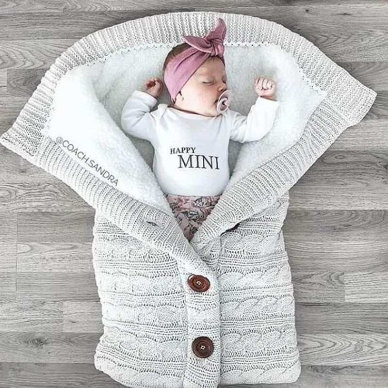 Newborn Stroller Winter Bag 60*45cm Swaddle Sack Winter Stroller Sleeping Bag Wool Sleeping Bag For Baby