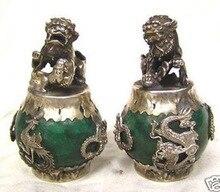 1 Pair HANDWORK tibet silver Green Jade Carving Figures Dragon Phoenix lion foo dog Statue Tibetan Silver Bronze decoration