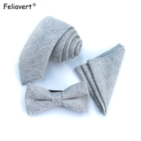 Feliavert Mens Wool Ties Set Fashion Herringbone Grey 6cm Tie+Bowtie+Handkerchief Sets Wedding Tie Suit Pocket Bow tie Gifts