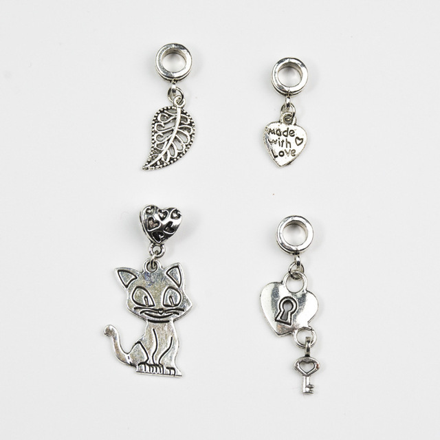 80fe6d72a ... australia cat lock with key leaves heart charm european alloy beads fit  pandora charm bracelet bangles