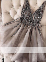 Gray 2019 Elegant Cocktail Dresses A line V neck Tulle Beaded Crystals Party Plus Size Homecoming Dresses