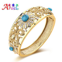 18k Gold Fine Jewelry Bangle Fashion Austrian Crystal Wedding Bride Flower Indian Turquoise Bracelets For Women