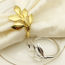 6 шт./лот, кольца для салфеток с осенними листьями, золотые, серебряные, на крестины, металлическая для салфеток, держатель, свадебные подарки, крестильное, для душа, вечерние, Декор