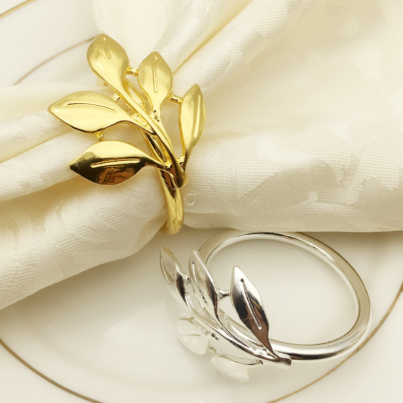 6pcs/lot Fall Leaves Napkin Rings Gold Silver Christening Bangle Metal Napkin Holder Wedding Gifts Baptismal Shower Party Decor