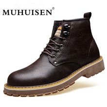 MUHUISEN Brand Men Anke Boots Warm Winter Leather Plush Fur Lace Up Snow Boots High Quality Vintage Male Work Shoes Mujer