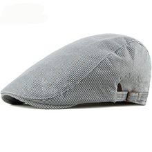 HT2500 Spring Summer Men Women Cap Sun Hat Vintage Striped Ivy Newsboy Flat Cap Adjusted Retro Cotton Beret Men Women Beret Cap