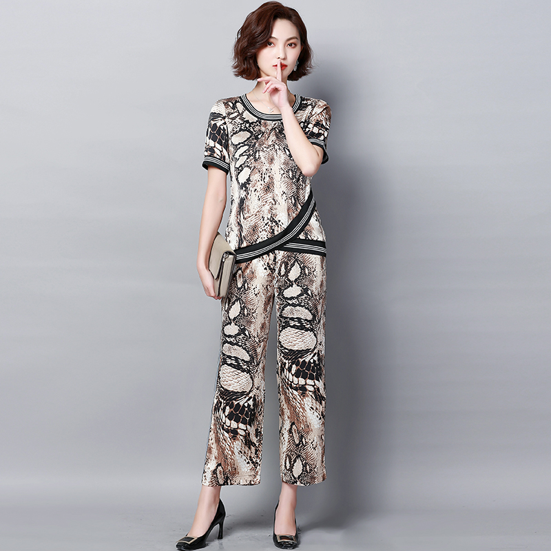 Plus Size Summer Snake Printed Two Piece Sets Women Short Sleeve Tops And Wide Leg Pants Suits Casual Elegant Korean Womens Set 37