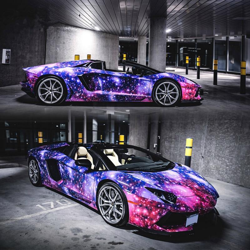 2pcs 50 150 Beautiful Galaxy Painting Car Body Film Pvc Starry Sky Vinyl Wrap Auto Interior