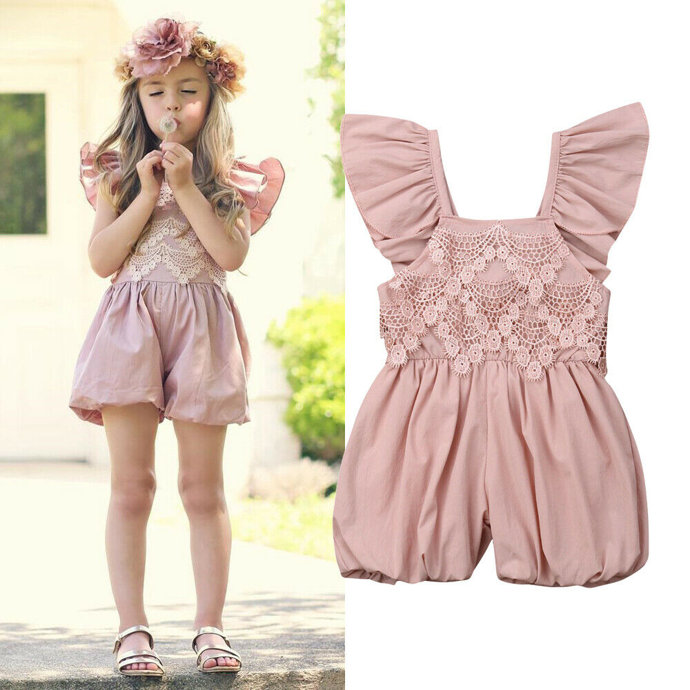 Emmababy Newborn Kids Baby Girls Romper Solid Floral Sleeveless Sunsuit Romper Outfits Toddler Baby Infant Girl Summer Clothes