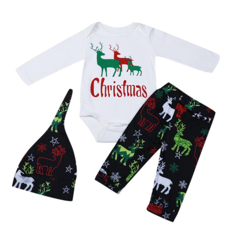 Fashion Christmas Baby Elk Deer Print Long Sleeve Romper + Pants + Hat 3pcs Set Winter Cotton Baby Boys Girls Clothes Set