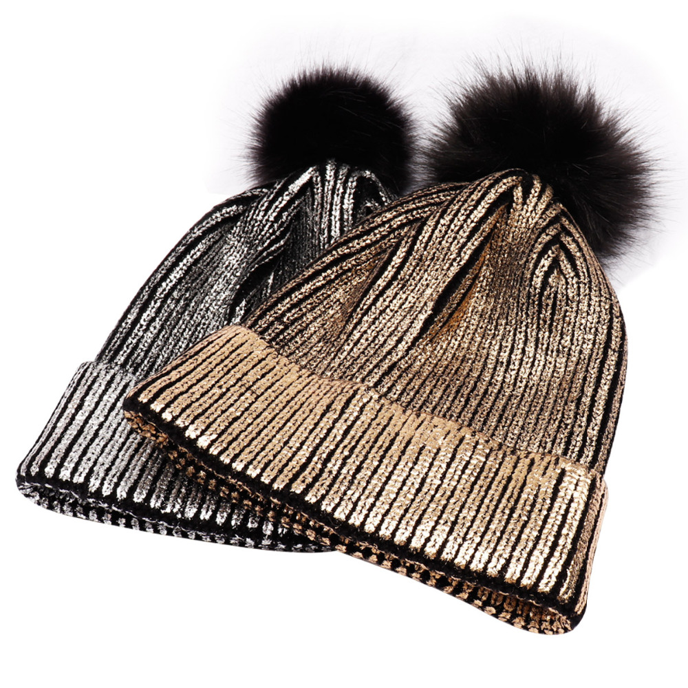 Hats/Caps Winter Shiny Knitted Crochet   skullies     beanies   Hat For Women Female Bronzing Glitter pom pom   Beanies   Warm Slouchy Cap