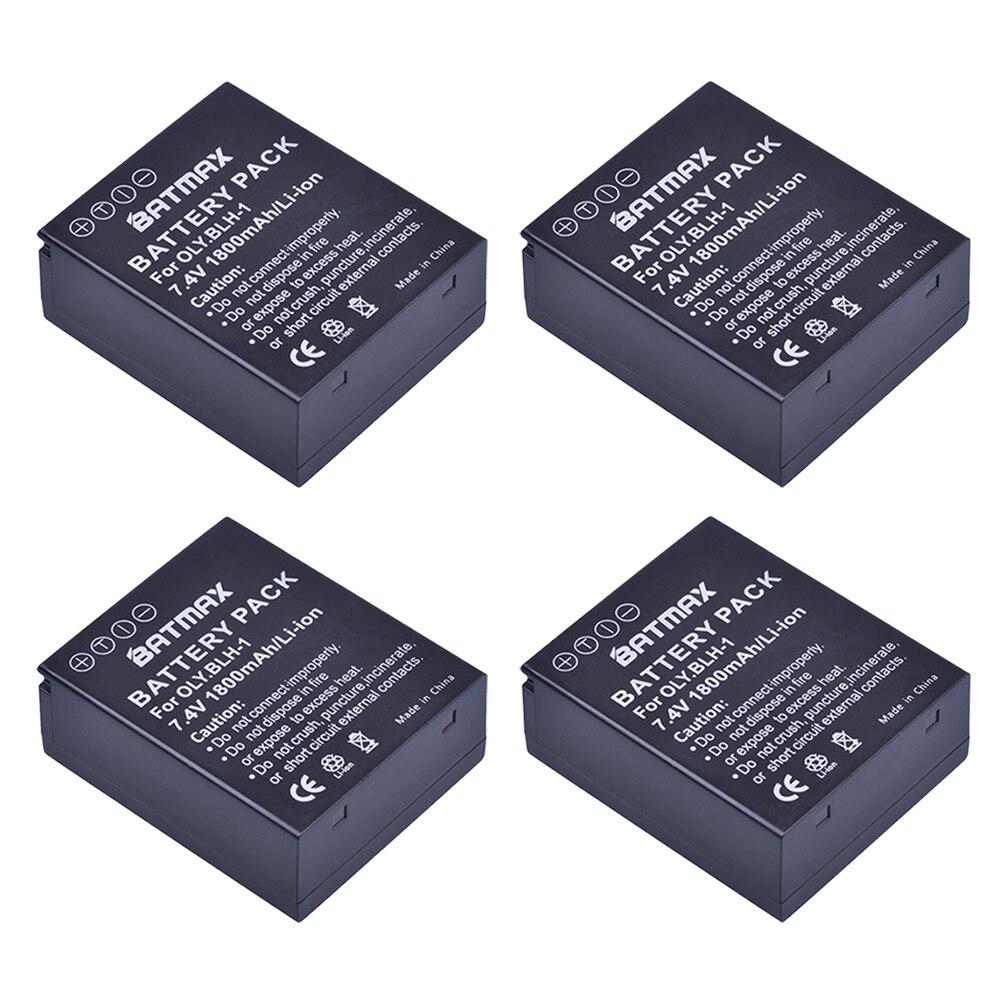 4Pcs 1800mAh BLH-1 BLH1 Battery + LCD USB Charger for Olympus Digital Cameras EM1 MARK II EM1-2 EM1 Mark 2 Camera Battery