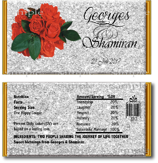 10 Pcs Red Rose Candy Bar Wrapper Diy Wedding Decor Custom
