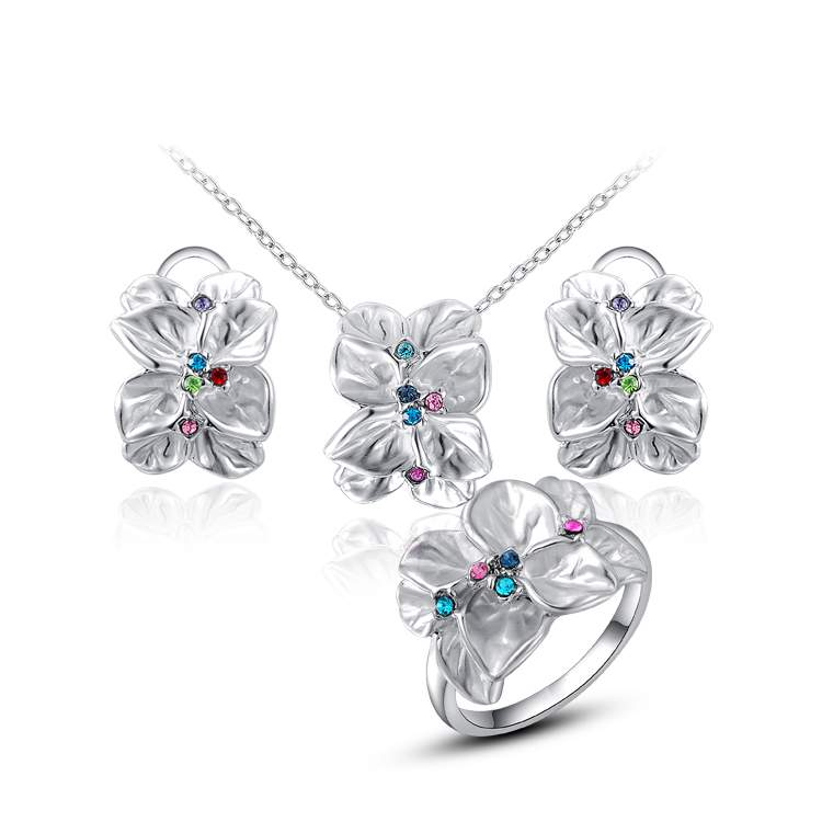 Delicate RHao Women Christmas Multi Crystal Flower necklace and earring and rings jewelry sets for women