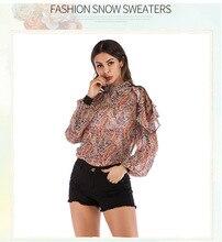 Spring And Summer European American Explosions Gauze Print Chiffon Shirt Ruffled Tops