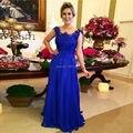 Mero de la bata mariee 2016 Royal Blue Madre de Las Novias Vestidos para Las Bodas de Encaje de Gasa de la Cremallera Del Partido de Tarde Vestido mae da noiva