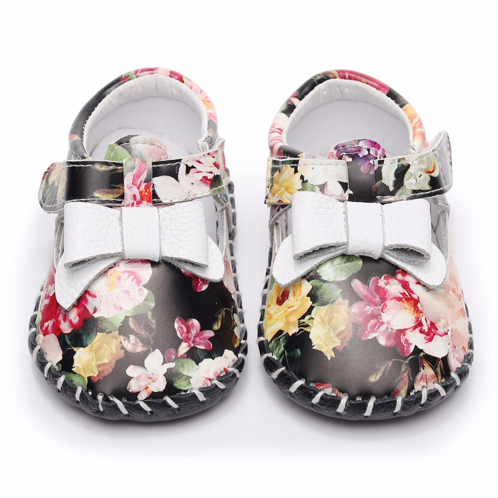2018 New Genuine Leather Baby moccasins First Walkers Soft Sole Baby shoes Infant bowknot Shoes slippers for 0-18 month
