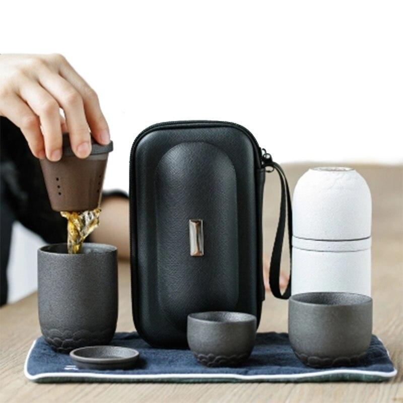 일본 주전자 세라믹 차 컵 커피 주전자 세트 휴대용 여행 차 세트 drinkware-에서티웨어 세트부터 홈 & 가든 의  그룹 1