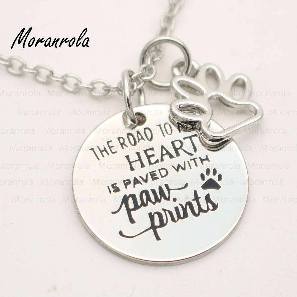 The Road To My Heart is Paved with Pawprints Charm Necklace Gift for Dog Lover