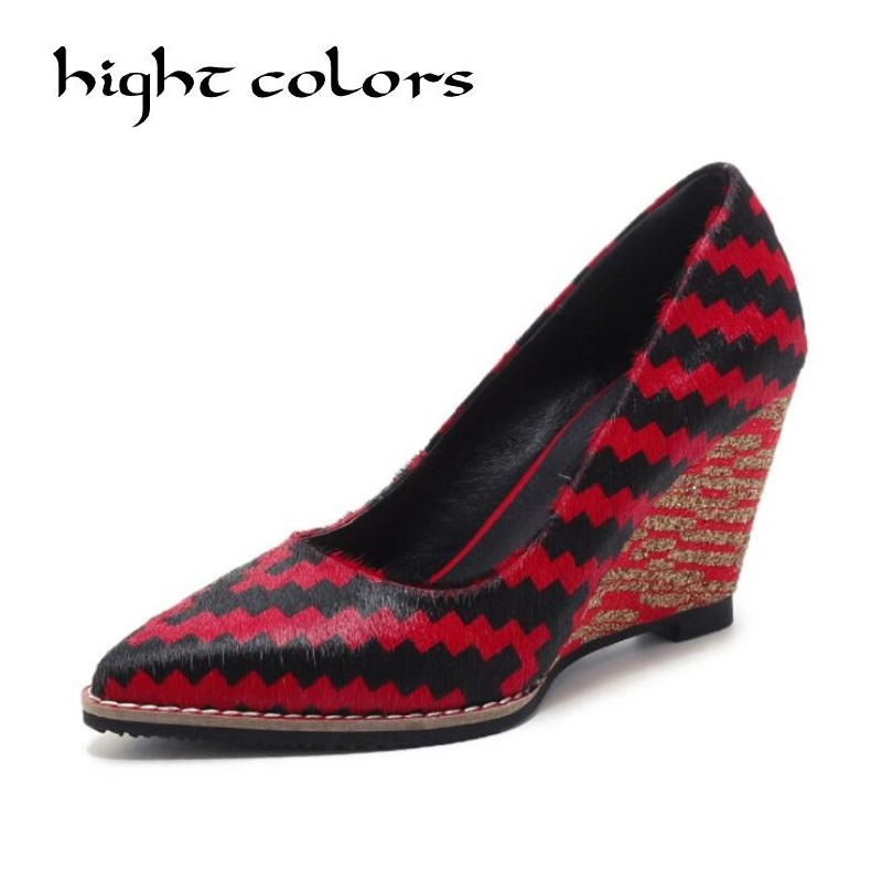 2018 spring autumn new wedges shoes spell color slope with single shoes shallow mouth pointed high heels sexy shoes women pumps футболка print bar looney tunes