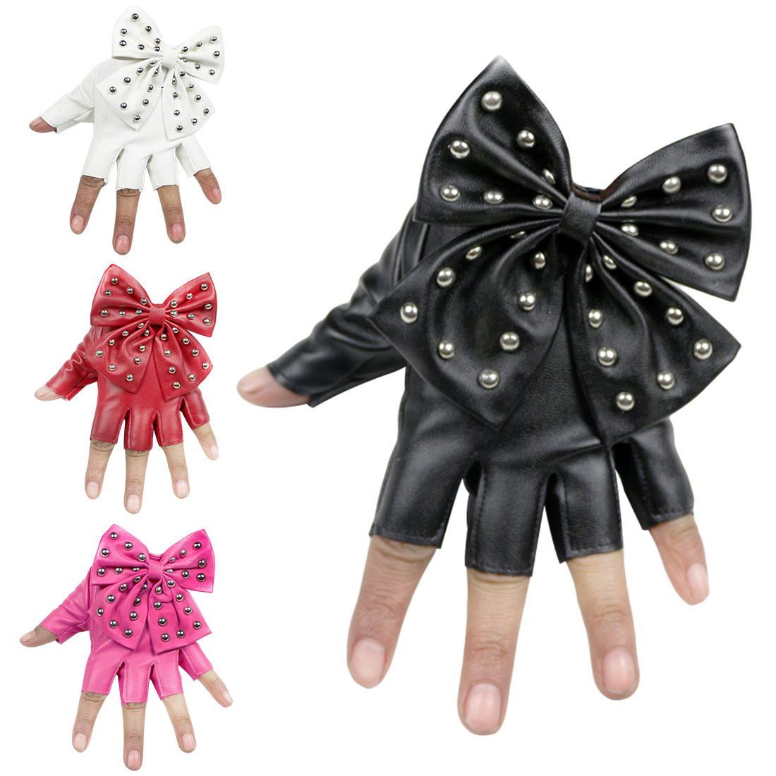 Leather Glvoes Women Winter Big Bow Full Finger Gloves For Dancing Party Retro Vintage Mittens Black White Pink Red