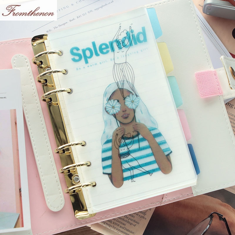 Kawaii Spiral Planner PP Dividers For Filofax Notebook A5A6 Planner Cute Index Pages PP Bookmark Personal Diary Book Accessories