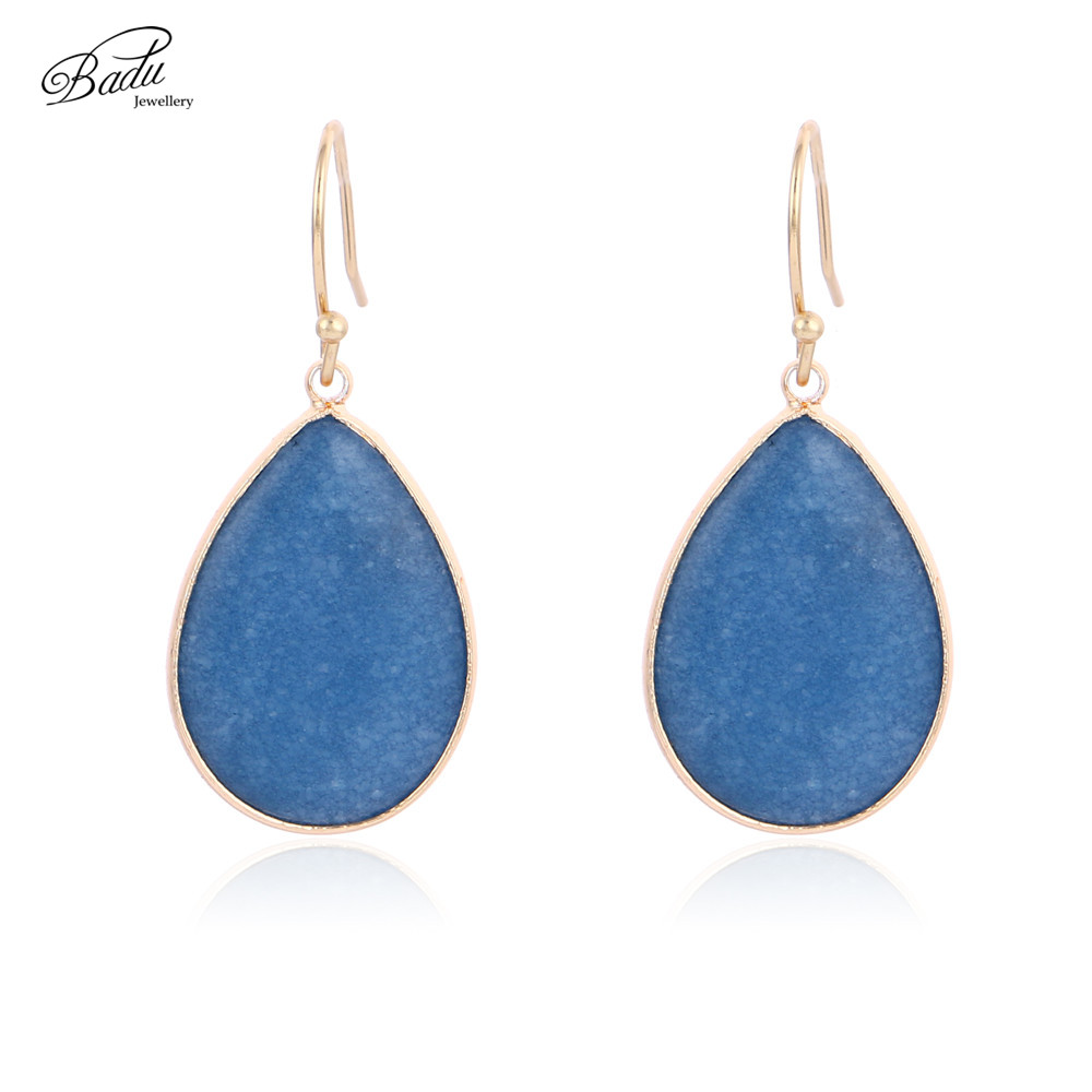 Badu Blue Natural Stone Oval Drop Earring Women Vintage Golden Copper Hook Dangle Earrings Faceted Shipping