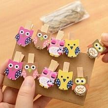 10pcs/bag Cute Mini owl Wooden Clothes Photo Paper Peg Pin Clothespin Craft Food Postcard Clips Home Crafts Decoration
