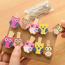 10pcs/bag Cute Mini owl Wooden Clothes Photo Paper Peg Pin Clothespin Craft Food Postcard Clips Home Crafts Decoration(China)