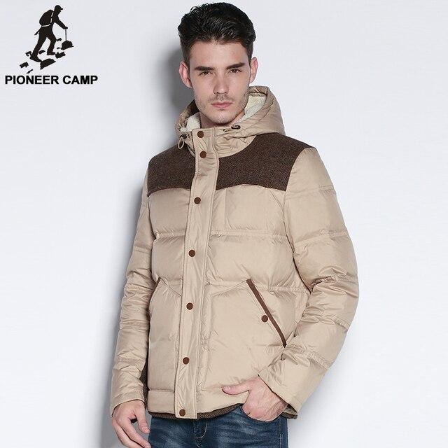 Pioneer camp 2017 nueva moda de invierno chaqueta de los hombres ropa de la marca pato blanco abajo de la capa masculina mantener caliente espesar parkas casuales hombres