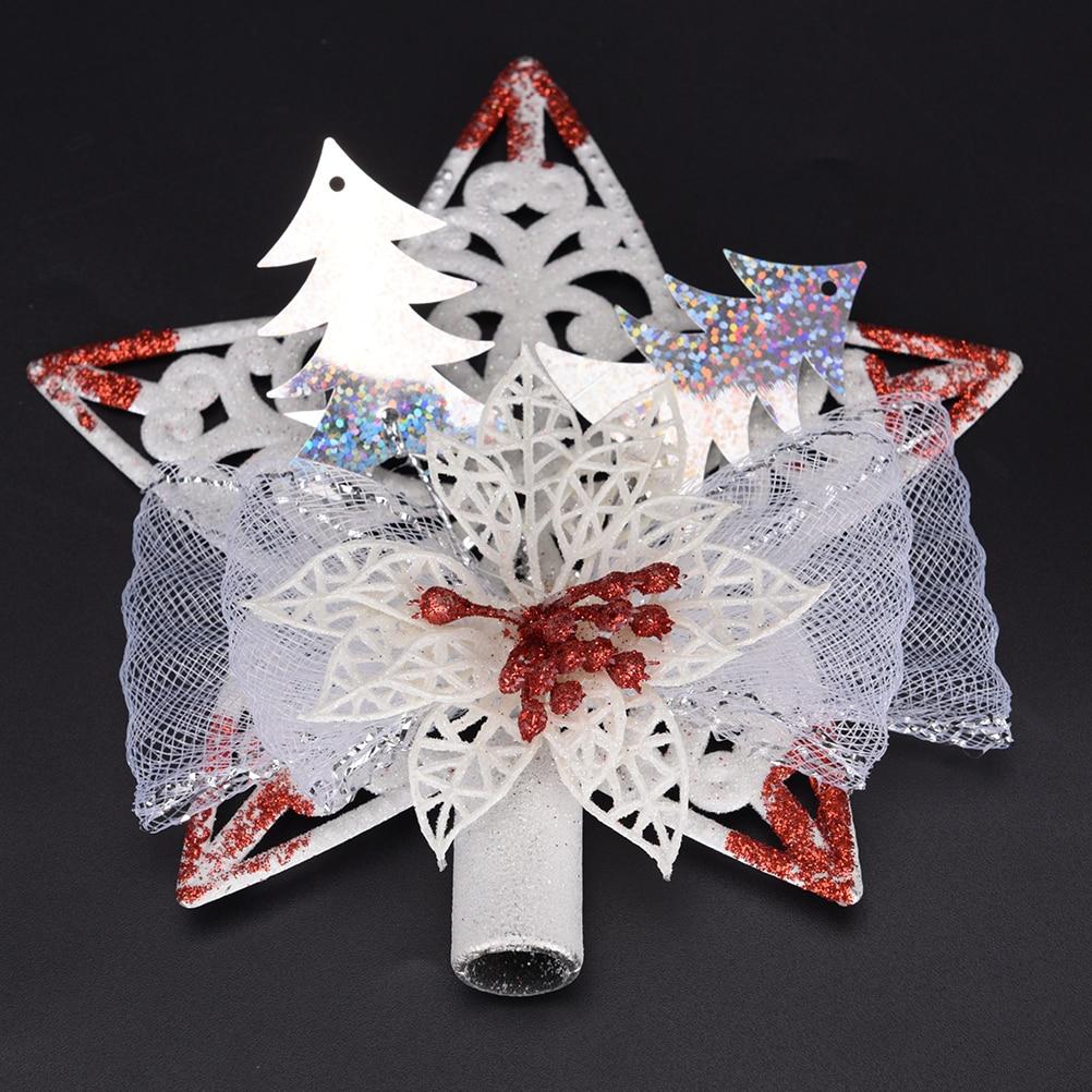 Pentagonal Stars Vintage Xmas Tree Pendant Christmas Tree Topper Plastic  Sticky Tree Top Ornaments Home Decoration