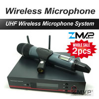 High Quality 2pcs/Lots Professional UHF Wireless Microphone Wireless System With Handheld Transmitter Mic