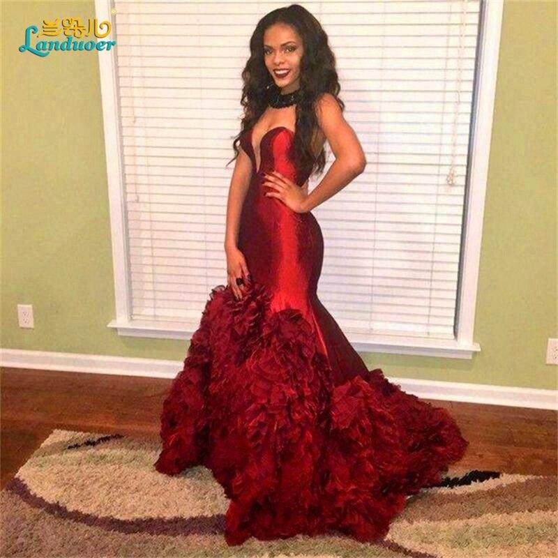 Burgundy prom dresses 2017 mermaid ruffles black girl wine