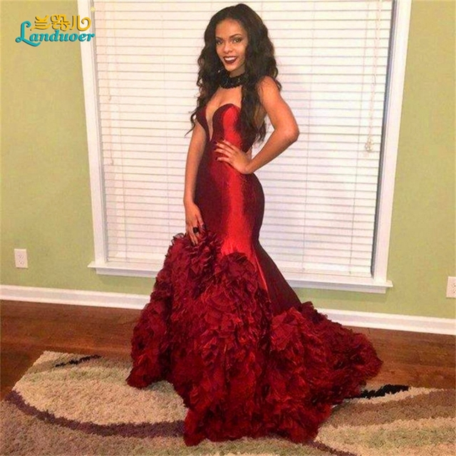 Burgundy prom dresses 2017 mermaid ruffles black girl wine red ...
