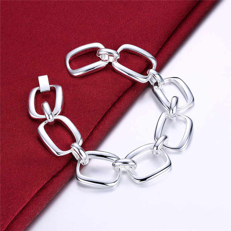 Silver 925 Jewelry Chain Link Bracelet for Women Fashion Square Bangle Bracelet Femme Wristband Bijoux Costume Jewelery Bijoux