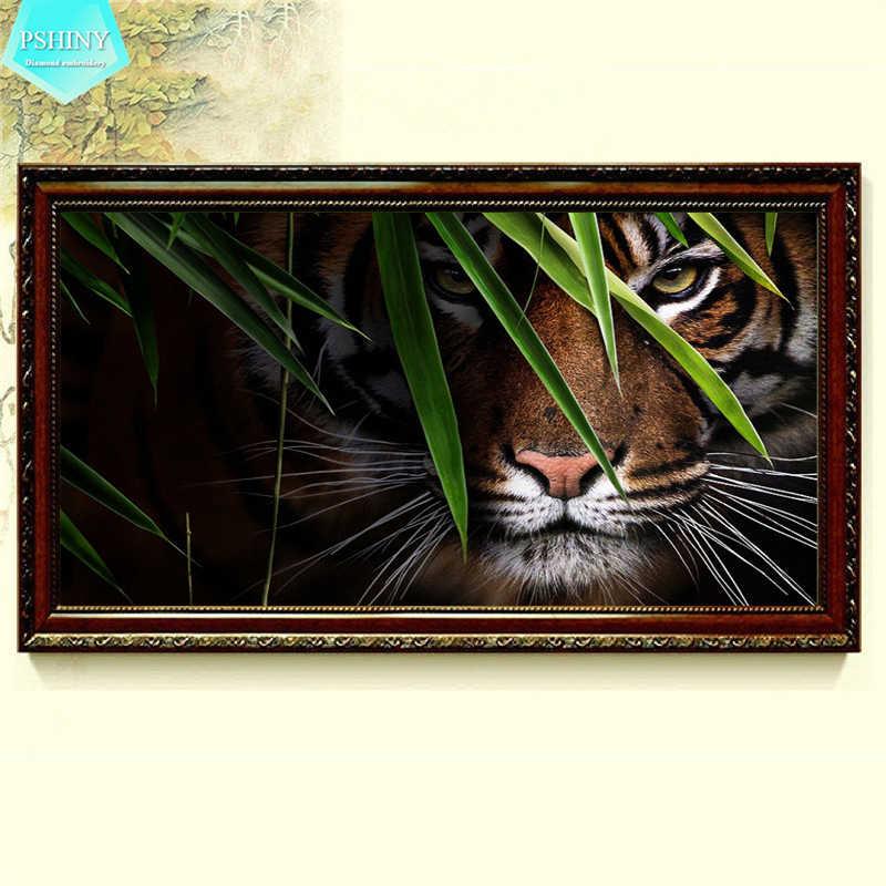 Pbrillant 5D bricolage diamant broderie vente tigre photos plein forage rond strass animal diamant peinture nouveauté couture