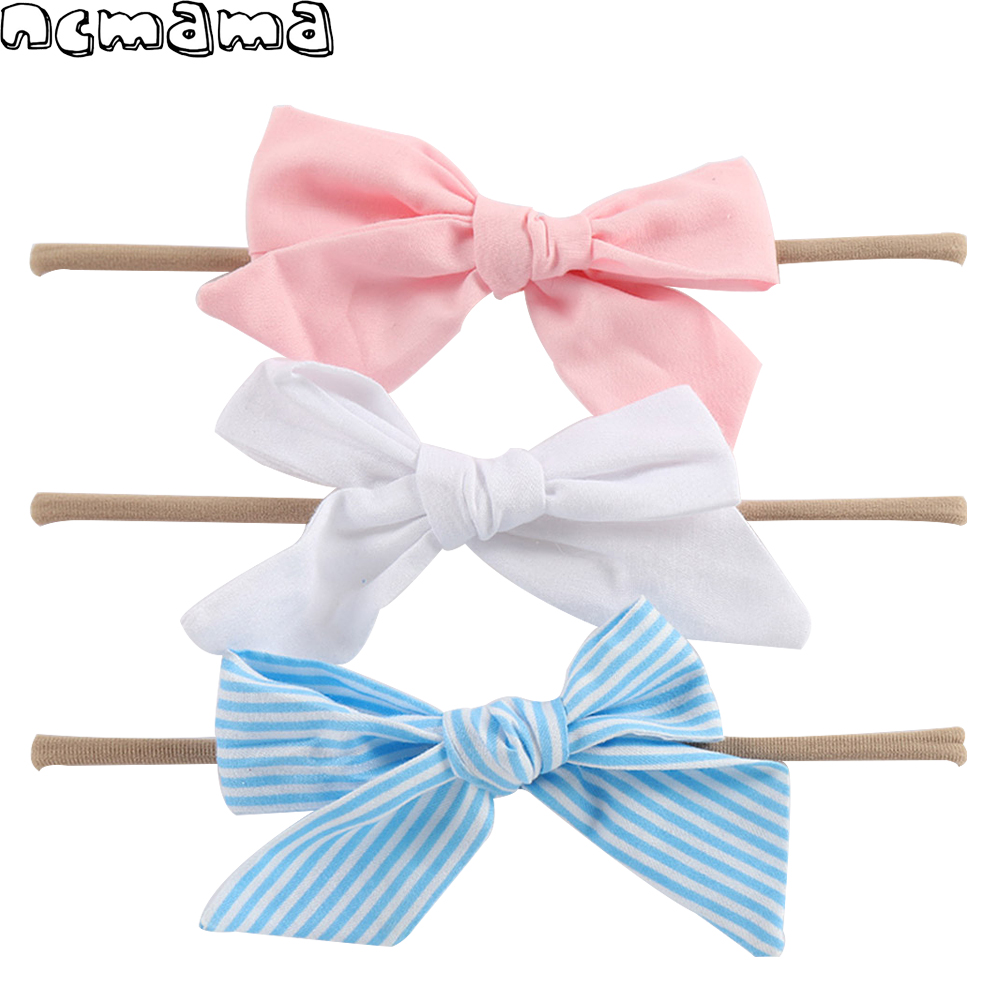 1 Set (3pcs) Boutique Cotton Headband with Sloppy Fabric Bow for Girls Boutique Kids' Elastic Head Band Hair Accessories 10pcs lot bourique elastic nylon headband with fabric bow for girls hair accessories kids elastic headband