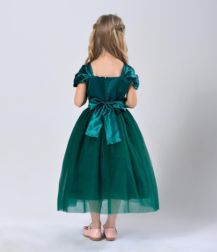 Party Mesh Dress Children Designer Summer Wear Kids White Emerald ...