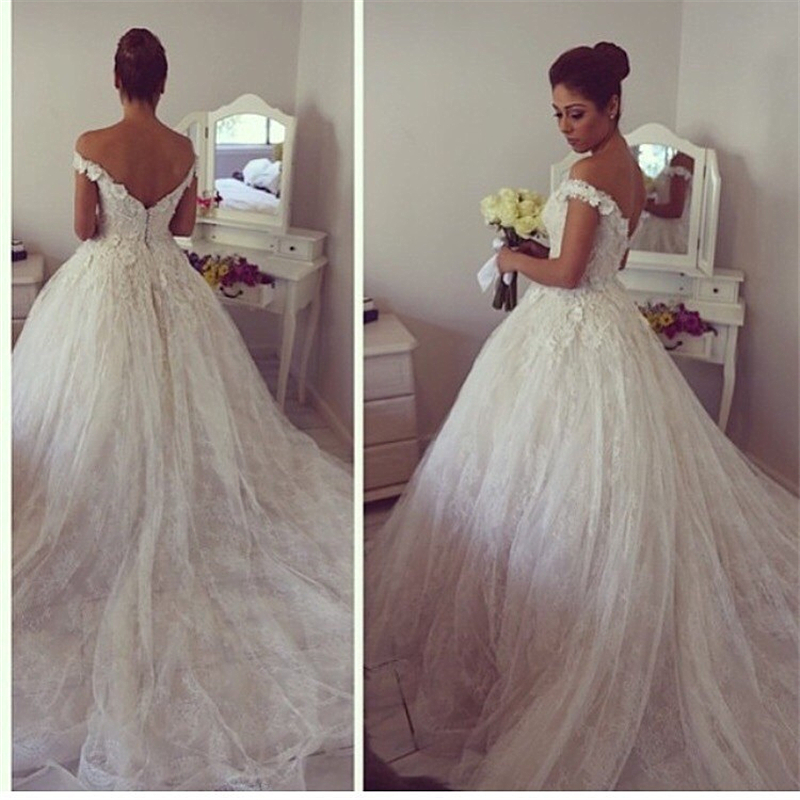 Vintage lace sweetheart appliques cathedral train off the for Off the shoulder ball gown wedding dress