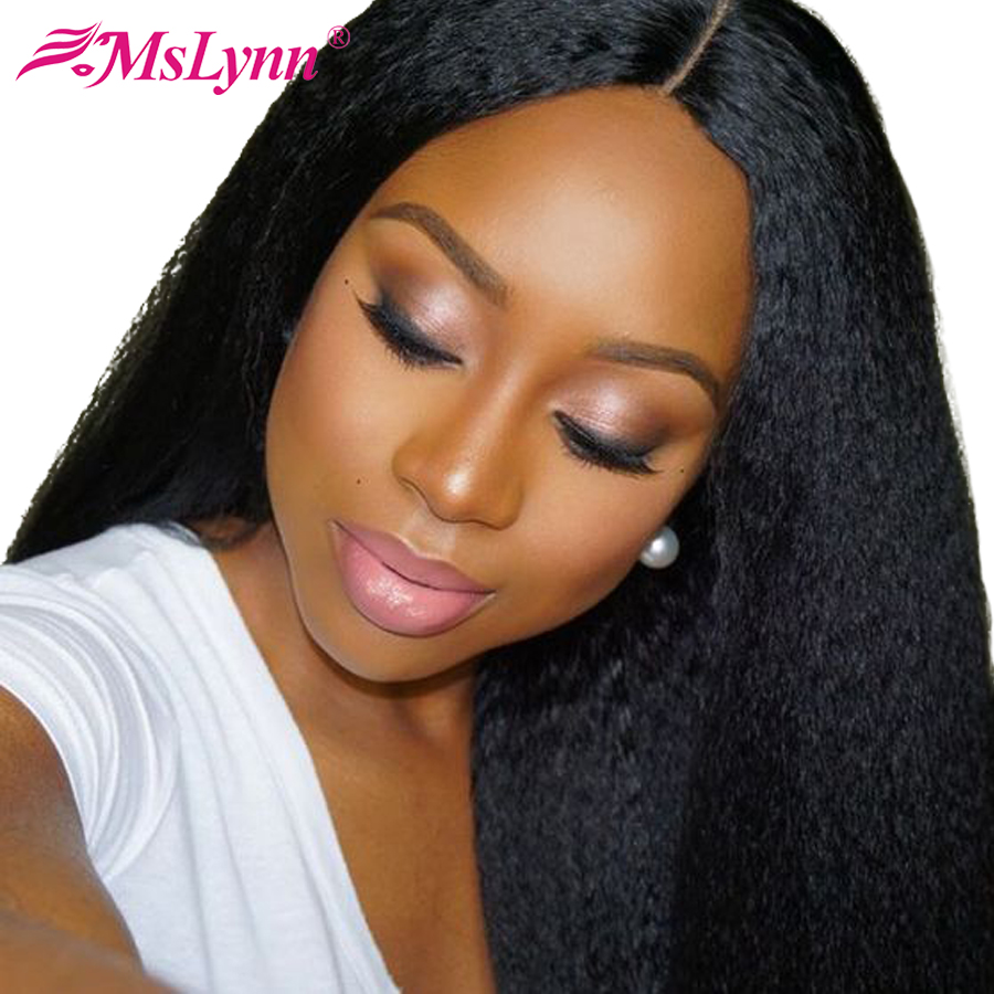 Mslynn Brazilian Kinky Straight Lace Front Wig Human Hair Wigs Black Women Average Size Non-Remy Hair 130% Density Natural Color