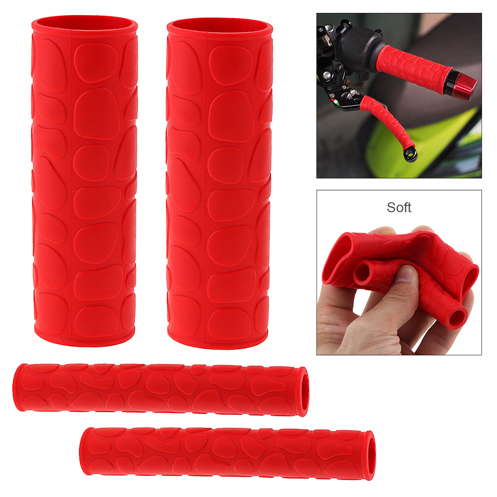 1 Pair 106 MM Soft TRP Motorcycle Handle Grips with Pattern and 2 Pcs Handbrake Covers for Universal Motorcycle Motorbike Moped in Grips from Automobiles Motorcycles